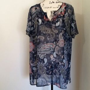 sz. 16W Style & Co sheer blue paisley tunic top